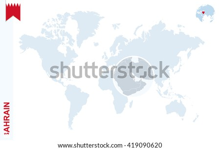 World Map Magnifying On Bahrain Blue Stock Vector 419090620 ...