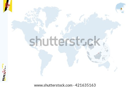 World Map Magnifying On Brunei Blue Stock Vector 421635163