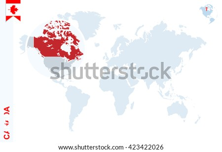 World map magnifying on canada blue stock vector 423422026 world map with magnifying on canada blue earth globe with canada flag pin zoom gumiabroncs Images