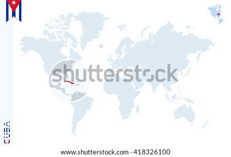 World Map Magnifying On Cuba Blue Stock Vector 418326100 - Shutterstock