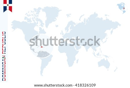 World Map Magnifying On Dominican Republic Stock Vector 418326109 ...