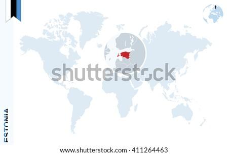 World map magnifying on estonia blue stock vector 411264463 world map with magnifying on estonia blue earth globe with estonia flag pin zoom gumiabroncs Images