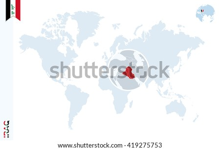 World map magnifying on iraq blue stock photo photo vector world map with magnifying on iraq blue earth globe with iraq flag pin zoom gumiabroncs Image collections