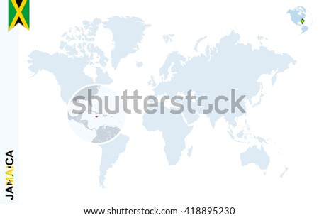 World map with magnifying on Jamaica. Blue earth globe with Jamaica flag pin. Zoom on Jamaica map. Vector Illustration - stock vector