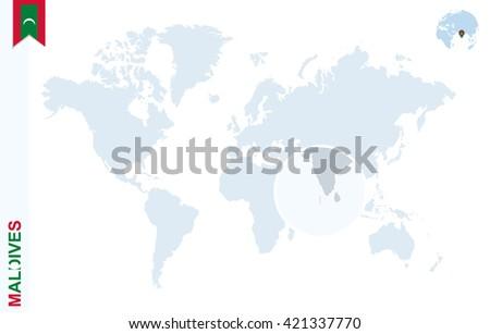World Map Magnifying On Maldives Blue Stock Illustration - Maldives map world