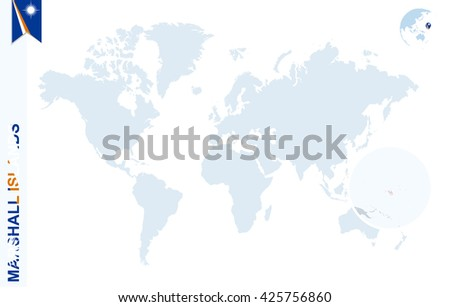 World Map Magnifying On Marshall Islands Stock Vector 425756860 ...