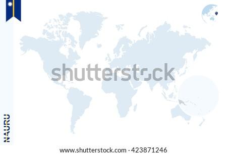World Map Magnifying On Nauru Blue Stock Vector - Nauru map vector