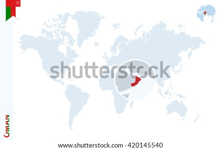 World map magnifying on oman blue stock vector 420145540 shutterstock world map with magnifying on oman blue earth globe with oman flag pin zoom gumiabroncs Gallery