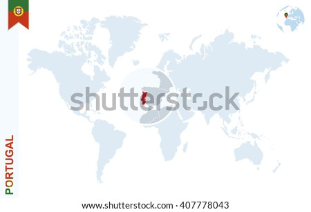 World map magnifying on portugal blue vectores en stock 407778043 world map with magnifying on portugal blue earth globe with portugal flag pin zoom gumiabroncs