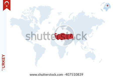 World Map Magnifying On Turkey Blue Stock Vector 407510839