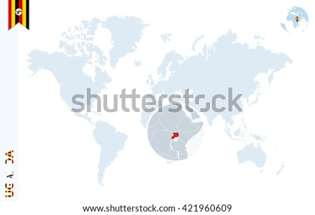 World map magnifying on uganda blue stock photo photo vector world map with magnifying on uganda blue earth globe with uganda flag pin zoom gumiabroncs