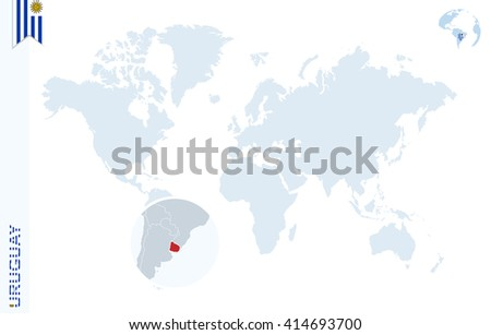 World map magnifying on uruguay blue stock vector hd royalty free world map with magnifying on uruguay blue earth globe with uruguay flag pin zoom gumiabroncs Images
