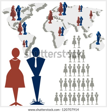 World map with male and female icons - can be used as info graphics for business network and human resources management presentations - stock vector