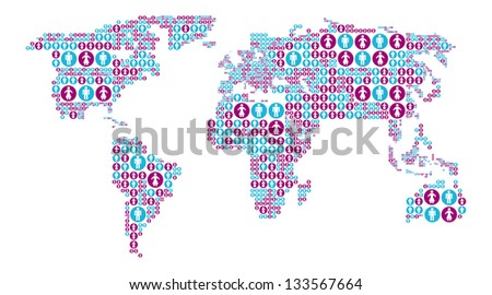World map with male and female icons. Vector illustration - stock vector