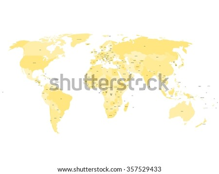 World map with names of sovereign countries and larger dependent territories. Simplified vector map in four shades of yellow on white background.