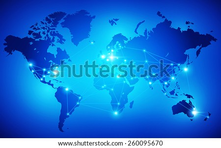 World map with nodes linked by lines. Vector illustration - stock vector