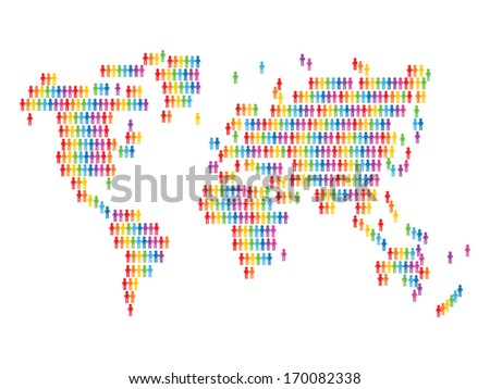 World map with people icons - stock vector
