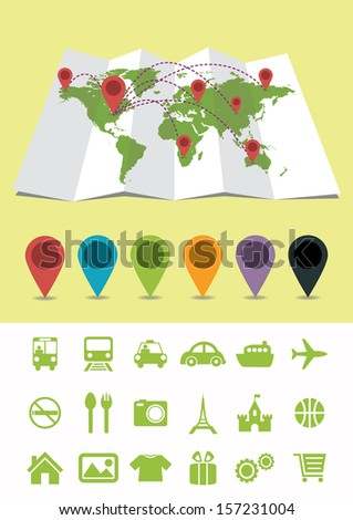 World Map with Pins and icons - stock vector