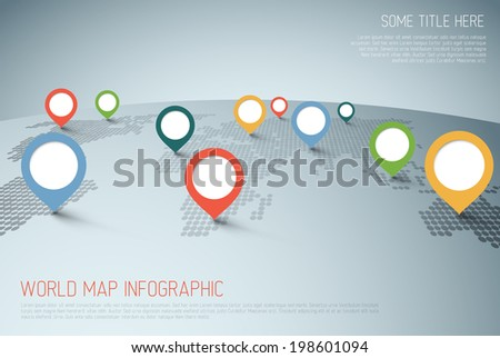 World map with pointer marks -  communication concept - stock vector