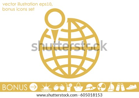 World map pointer marks icon vector stock vector 605018153 world map with pointer marks icon vector eps 10 abstract sign flat design illustration gumiabroncs Images