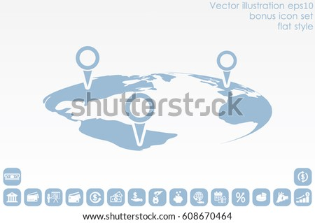 World map pointer marks icon vector stock vector 578588995 world map with pointer marks icon vector eps 10 abstract sign flat design illustration gumiabroncs Images