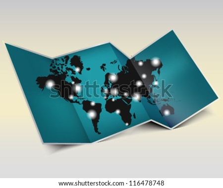 World map with population sign - stock vector