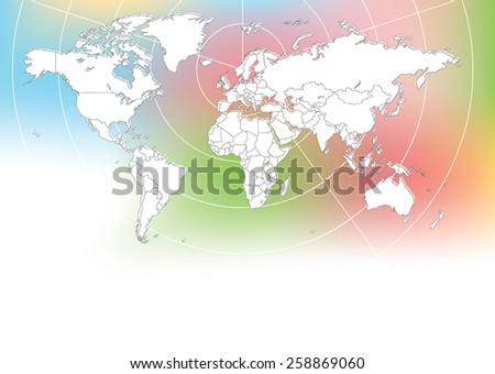 World Map with Radar Background (Vector Illustration) - stock vector