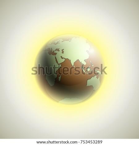 World map rising sun banner globe stock vector 753453289 world map with rising sun banner globe icon in space sunlight poster planet earth gumiabroncs Choice Image