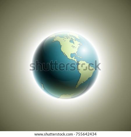 World map rising sun banner globe stock vector 758473726 world map with rising sun banner globe icon in space sunlight poster planet earth gumiabroncs Choice Image