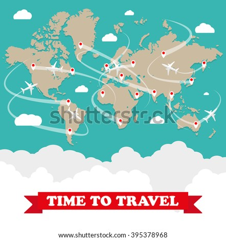 World map with routes airplane, clouds with sign on green background. vector illustration in flat design. travel concept - stock vector