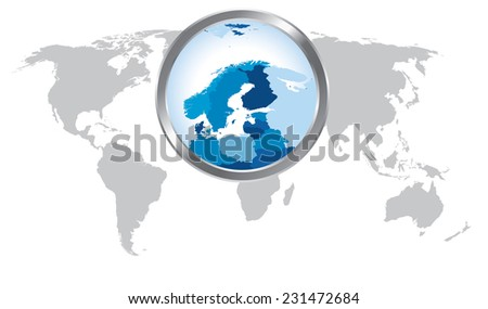 World map with Scandinavia magnified by loupe - stock vector