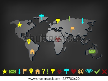 World map with set of pointers and markers - stock vector