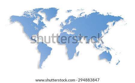 World map with shadow