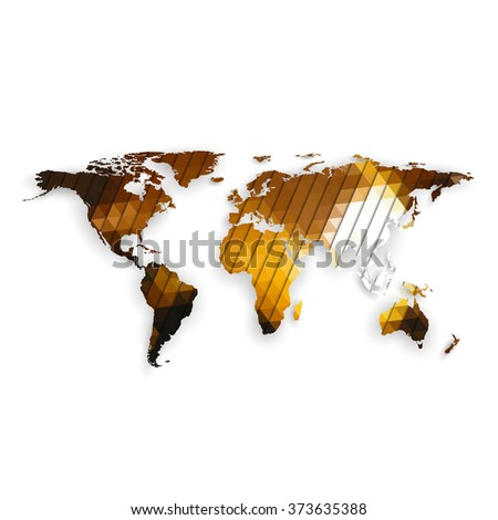 World map with shadow, textured design vector illustration. - stock vector
