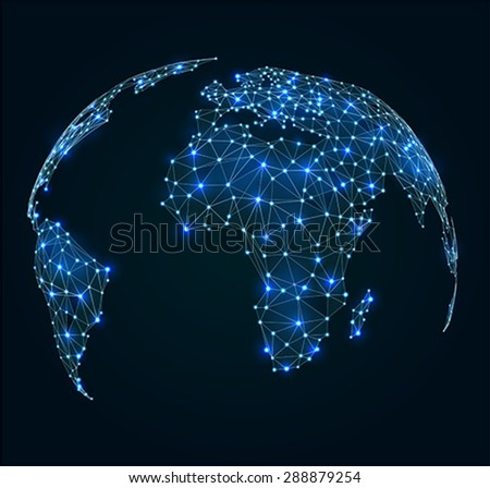 World map with shining points, network connections   - stock vector