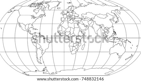 World map smoothed country borders thin vectores en stock 748832146 world map with smoothed country borders thin black outline on white background gumiabroncs Image collections