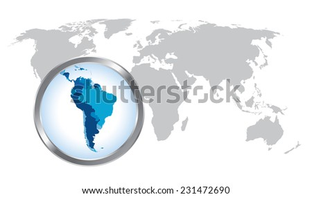 World map with South America magnified by loupe - stock vector
