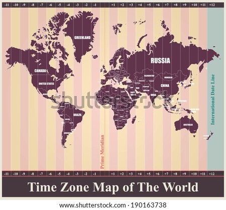 World Map with Standard Time Zones - stock vector