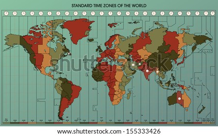 World map standard time zones cartography stock vector 155333426 world map with standard time zones cartography collection vector illustration easy to edit gumiabroncs Images