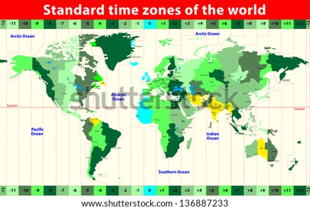 World time zones stock images royalty free images vectors world map with standard time zones vector gumiabroncs Image collections