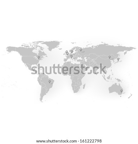 world map with stationery nails background vector  - stock vector