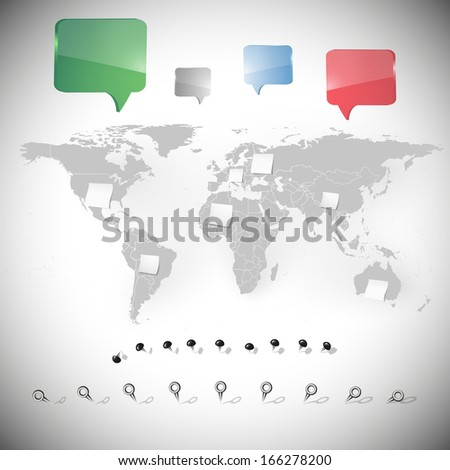 world map with stationery nails, white note papers and dialog boxes background vector  - stock vector