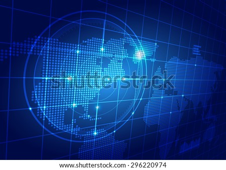 World Map with Technology Background, Vector Illustration