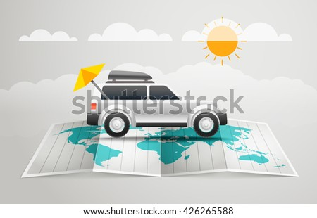 World map with the car. Vector infographic elements. Summer vacation vector concept - stock vector