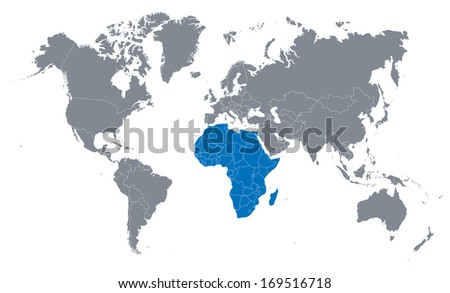 world map with the indication of Africa - stock vector