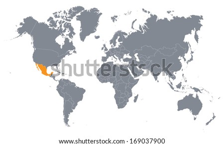 world map with the indication of Mexico - stock vector
