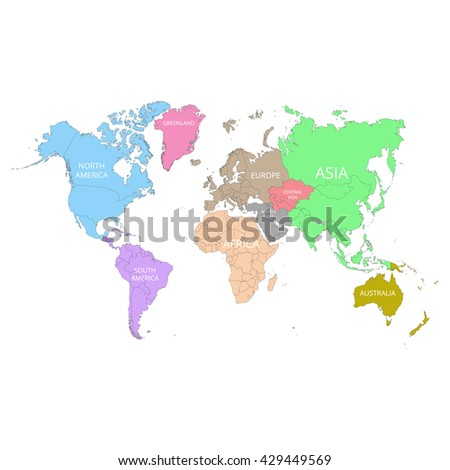 World map names continents vector illustration stock vector world map with the names of the continents vector illustration gumiabroncs Image collections