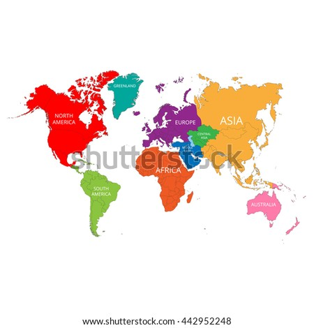 World map with the names of the continents. Vector illustration. - stock vector