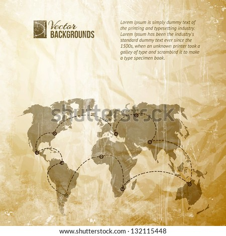 World map with track lines in vintage pattern. Vector illustration, contains transparencies, gradients and effects. - stock vector