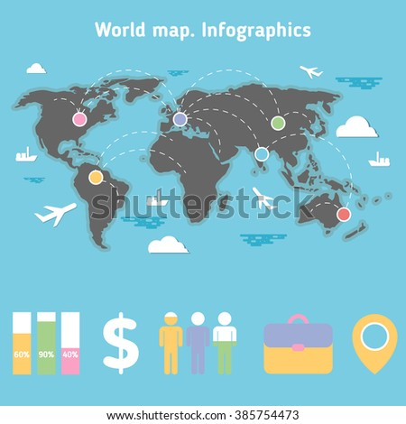World map traveling infographic elements flat stock vector 385754473 world map with traveling infographic elements flat design vector stock illustration gumiabroncs Image collections